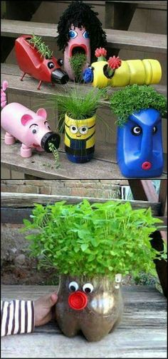 """There are heaps of great ways to recycle plastic bottles. Here are just a couple to get the creative juices flowing."" << a great craft for those with little ones Plastic Bottle Planter, Plastic Bottle Crafts, Recycle Plastic Bottles, Diy With Kids, Diy Crafts For Kids, Plastik Recycling, Ways To Recycle, Pet Bottle, Recycled Bottles"