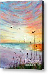 St. Pete Beach Sunset by Gabriela Valencia - St. Pete Beach Sunset Painting - St. Pete Beach Sunset Fine Art Prints and Posters for Sale