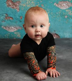 Mum designs fake tattoo sleeves for babies with attitude