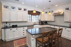 Hardwood, Island, Farmhouse, Crown molding, Breakfast Bar, Traditional, Soapstone, Glass, Flat Panel, Glass Panel, L-Shaped, Pendant