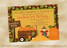 Pumpkin Patch Birthday Party Invitation by UniqueScrapDesigns - Kadyn 1st Birthday