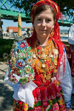 Gold necklace and traditional costume (Lavradeira) of Minho. Our Lady of Agony Festivities, the biggest traditional festival in Portugal. Viana do Castelo.