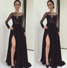 Black Prom Dresses,Lace Evening Dress,Sexy Prom Dress,Prom Dresses With Long…