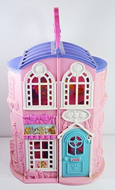"""Fisher Price Sweet Streets Pet Parlor with Vet Center Pink with Purple Roof 9 1/4"""" tall PLAYHOUSE ONLY ** Learn more by visiting the image link."""