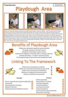 This template can be used to show how a child benefits from manipulating play dough. Play dough is a great sensory experience which can be used by chi. Eyfs Areas Of Learning, Eylf Learning Outcomes, Play Based Learning, Learning Through Play, Early Learning, Preschool Activities, Kids Learning, Emergent Curriculum, Preschool Curriculum