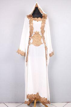 Moroccan Hoodie CAFTAN White Chiffon Abaya Maxi Dress Gold Embroidery Jalabiya #Handmade #MaxiDress #ChristmasEIDpartywedding