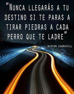 """""""Nunca llegarás a tu destino si te paras a tirar piedras a cada perro que te ladre"""" Wiston Churchill"""