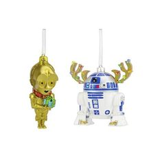 Star Wars 2ct Christmas C3PO and R2D2 Ornament Set (310 MXN) ❤ liked on Polyvore featuring home, home decor, holiday decorations, star wars home decor, star wars xmas ornaments, xmas ornaments, christmas home decor and star wars ornaments