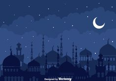 Illustration of silhouette mosque at arabian night with stars and moon background Eid Background, Simple Background Images, Background Powerpoint, Night Background, Poster Ramadhan, Mosque Vector, Islamic Wallpaper Hd, Mubarak Ramadan, Ied Mubarak