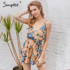 Flower Print Backless Jumpsuit Romper Elegant Sleeveless Summer
