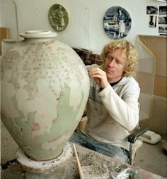 """Potter Artist Grayson Perry (British: 1960 - ) Grayson Perry is the transvestite potter who won the 2003 Turner Prize, picking up the award dressed as """"Claire"""" - Artist at work! Grayson Perry Art, Turner Prize, Keramik Vase, Ceramic Studio, Pottery Studio, Ceramic Artists, Teaching Art, Contemporary Artists, Contemporary Ceramics"""