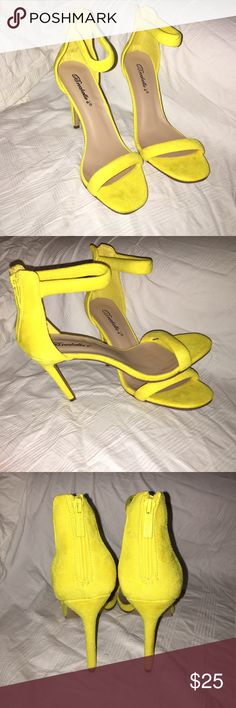 Brand New Yellow Heels, Size 7.5 Brand-new never been worn yellow heels, size 7 1/2 with a 4 inch heel. Fits a size 7 1/2 to 8. Shoes Heels