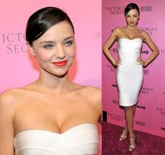 White Miranda Kerr Strapless Body-hugging Dress
