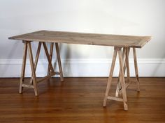 Reclaimed Elm Trestle Table Desk - MAYBE WE CAN USE OUR OLD DOORS. Or floorboards for this!