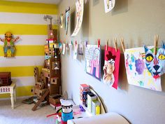 SET UP AN AT-HOME GALLERY  You treasure your children's artwork until you find yourself drowning in it. Let them pick their favorites and curate a rotating gallery in their rooms.