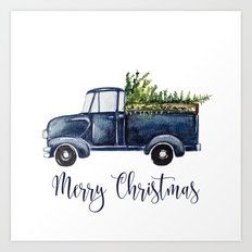 Christmas Truck Art Print by craftberrybush - Blue Christmas Truck Art Print -Blue Christmas Truck Art Print by craftberrybush - Blue Christmas Truck Art Print - For how-to's, tips and tricks, and inspiration on all things succulents. Watercolor Christmas Cards, Christmas Drawing, Christmas Paintings, Watercolor Cards, Christmas Calligraphy Cards, Xmas Drawing, Christmas Artwork, Christmas Truck, Blue Christmas