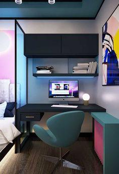 Bedroom Setup, Room Design Bedroom, Room Ideas Bedroom, Modern Bedroom, Bedroom Decor, Small Home Offices, Home Office Setup, Desk Setup, Game Room Design