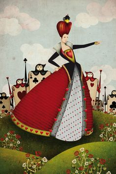 Illustration for The Alice Project featuring Queen of Hearts and the card soldiers. It´s been made using hand drawing, vector deawing and photochop painting and texturing. The project is a mass colaboration between artist from all over the world.