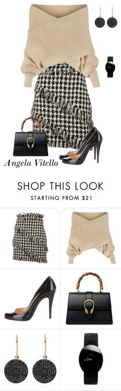 """Untitled #921"" by angela-vitello on Polyvore featuring MSGM, WithChic, Christian Louboutin, Gucci, Astley Clarke and Rado"