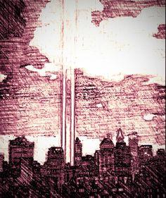 The WTC memorial light beams.
