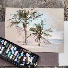 Вчерашние пальмы с пляжа. Сегодня в @krasniy_karandash рассказываю о бумаге и как важно её правильно выбрать. По-хорошему, она должна сделать за нас бОльшую часть работы. Остается ввести светлые и темные зоны и добавить деталей! Если я вижу, что не попала с нужным цветом, проще взять новый лист и переделать. С учениками #пастельпро разбираем каждый раз этот вопрос подробно и каждый раз нарываемся на ошибки. Но прогресс уже ощутим! ) #тенерифе #pleinair_et #пастель #canson