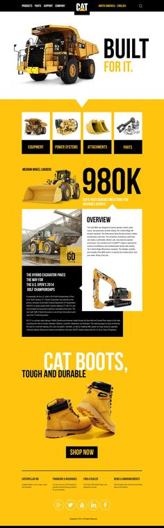 Modern Web Design from/for Caterpillar, which focusses on the bright main colours and really bold typo. I like it!