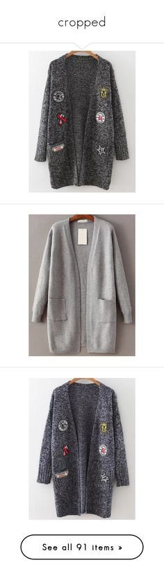"""""""cropped"""" by vheart-official ❤ liked on Polyvore featuring tops, cardigans, marled cardigan, marled knit cardigan, long knit tops, pocket tops, long sleeve tops, long gray cardigan, long tops and grey top"""