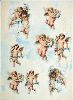 Rice Paper for Decoupage Decopatch Scrapbook Craft Sheet Vintage Angels & Flower