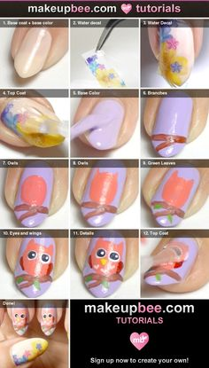 Step-By-Step Tutorial for Cute Pink Owl Nail Art with Flowers