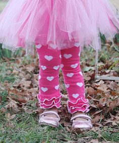 Look what I found on #zulily! Hot Pink & White Hearts Ruffle Leg Warmers by Diva Daze #zulilyfinds