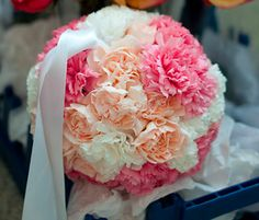 Peach, pink and white -Carnation pomander