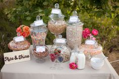 Cereal Bar If you're having a brunch, a candy buffet might not be the most appropriate option, but a cereal bar would be perfect. And since most cereals are loaded with sugar, it's pretty much the morning equivalent of the candy buffet anyways. Wedding Brunch Reception, Wedding Catering, Reception Ideas, Buffet Wedding, Reception Signs, Wedding Ceremony, Drink Bar, Birthday Brunch, Brunch Party
