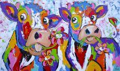 Samen aan het smullen -www.vrolijkschilderij.nl