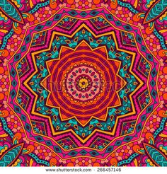 Abstract festive colorful mandala vector ethnic tribal pattern - stock vector