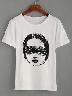 15f56fb498 Shop White Print Casual T-shirt EmmaCloth-Women Fast Fashion Online
