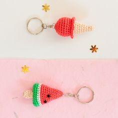 Watermelon keychain Crochet keychain Amigurumi keychain by SoCroch Crochet Diy, Crochet Food, Hand Crochet, Cool Keychains, Cute Keychain, Crochet Keychain, Crochet Earrings, Crochet Accessories, Crochet Projects