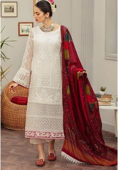 Pearl White Palazzo Pant Suit In Georgette Hand Work SFROY304400 Pakistani Bridal Wear, Pakistani Dress Design, Pakistani Suits, Pakistani Dresses, White Palazzo Pants, Palazzo Suit, Salwar Kameez, Salwar Suits, Sharara Suit