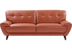 Cindy Crawford Home Midtown East Terracotta Leather Sofa . $877.00. 85W X  39D X 34H. Find Affordable Leather Sofas For Your Home That Will Complement  The ...