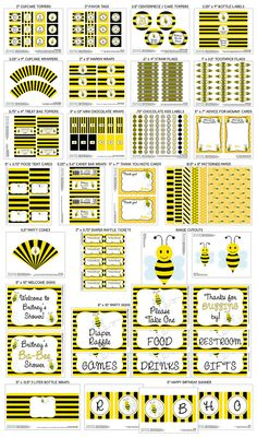 Printable DIY Black and Yellow Honey Bee / by PapercutsPartyShop, $30.00