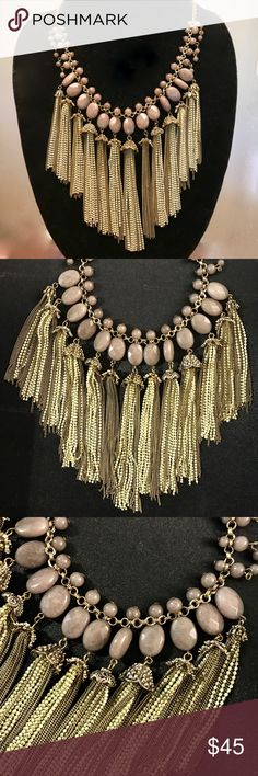 """Teralyn Chain Tassel Statement Necklace Worn once, perfect condition! Gorgeous chain tassels and neutral purple/rose beads. This goes with SO much. Surprisingly lightweight! materials- Brass, glass 20.5""""L with 2.5"""" extender chain anthropology Jewelry Necklaces"""