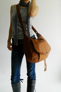 SALE  10 OFF  Kylie in cognac // Messenger / by christystudio, $42.00