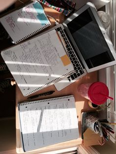 "plannersandtea: ""Study set up for revising my art notes for my final tomorrow. Trig final later today. What a joy. Hope everyone is crushing their finals or enjoying their summer! Xx """