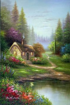 english thatched cottage pine forest oil painting ...