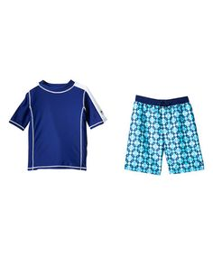 Look at this #zulilyfind! Blue Geometric Rashguard Set - Infant & Kids #zulilyfinds