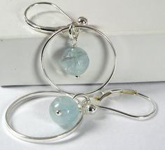 Blue Aquamarine Dangle Earrings Sterling by PlatiniFineJewellery, $24.00