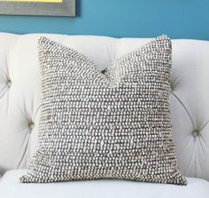 Designer Gray and Brown Pillow Cover - Brown Gray Ivory Woven Geometric Pillow Cover - Modern Pillow - Cotton Wool Blend Throw Pillow