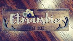 String Art- nails, stained wood, yarn, last name, paper flowers , custom, anniversary, wedding, rustic, decor Made By: Jennifer MacLeod Schutt