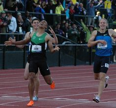 Ashton Eaton crosses the finish line in the decathlon 1500 meter run to set a world record at the 2012 US Olympic Trials at Hayward Field . Ashton Eaton, Olympic Track And Field, Olympic Trials, Us Olympics, Record Holder, Decathlon, World Records, World Championship, Physique