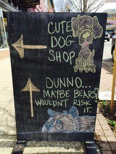Sidewalk chalkboard at The Blue Cerebus Dog Bakery & Boutique