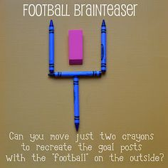 Brain Teaser! What a great way to get your child thinking outside of the box.. or rather, the goal! With this simple activity, your child will be exercising their critical thinking and problem-solving skills! Maybe you should try it too :)